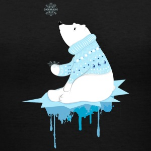 Polar bear with snowflakes Women's T-Shirts - Women's V-Neck T-Shirt