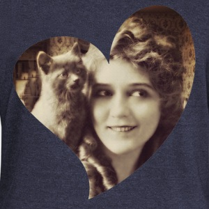 Mary Pickford - Vintage Lady with kitten - Vintage - Women's Wideneck Sweatshirt
