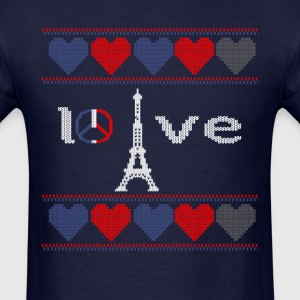 Peace And Pray For Paris Ugly Christmas Sweater T-Shirts - Men's T-Shirt