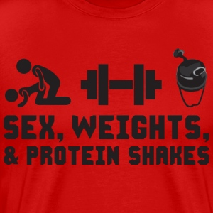 Sex, Weights, and Protein Shakes T-Shirts - Men's Premium T-Shirt
