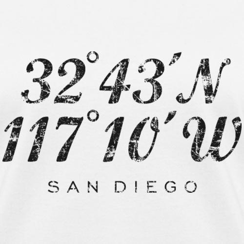 San Diego, California Coordinates Vintage Black