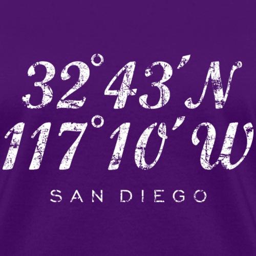 San Diego, California Coordinates Vintage White