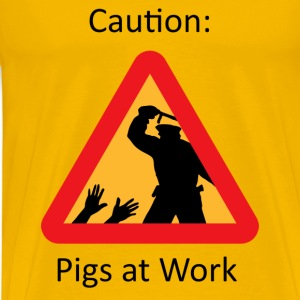 Pigs at Work - Yellow - Men's Premium T-Shirt