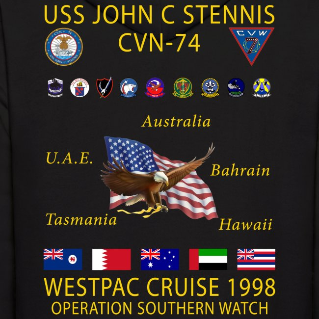 USS JOHN C STENNIS 1998 CRUISE HOODIE