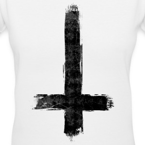 Inverted Cross Black Women's T-Shirts - Women's V-Neck T-Shirt