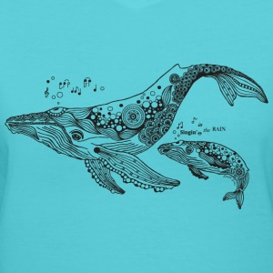 South Seas Women's Singing Whales T shirt - Women's V-Neck T-Shirt