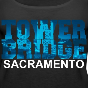 Sacramento Bridge in blue letters Tanks - Women's Premium Tank Top