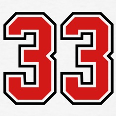 33 sports jersey football number T-SHIRT
