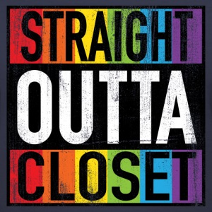 Straight Outta Closet Funny LGBT Pride Women's T-Shirts - Women's V-Neck T-Shirt