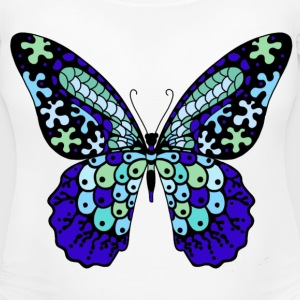 Women's Maternity T-Shirt Blue Butterfly - Women's Maternity T-Shirt