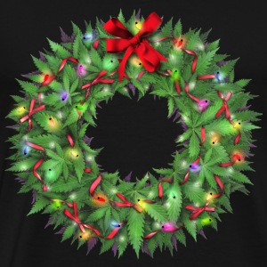 Marijuana Xmas Wreath T-Shirts - Men's Premium T-Shirt