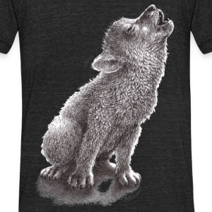 Funny Howling Wolf - Unisex Tri-Blend T-Shirt by American Apparel