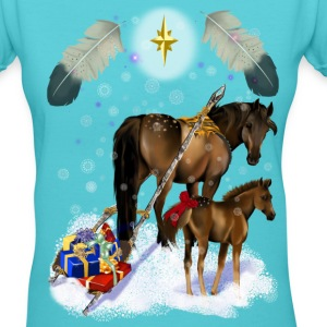 Christmas Mare and Colt - Women's V-Neck T-Shirt
