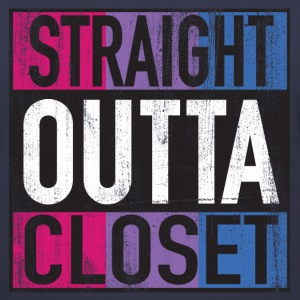 Straight Outta Closet Parody Bisexual Pride LGBT Women's T-Shirts - Women's V-Neck T-Shirt