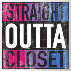 Straight Outta Closet Parody Bisexual Pride LGBT Mugs & Drinkware - Coffee/Tea Mug