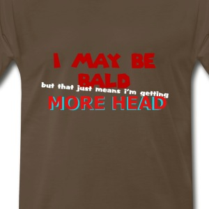 bald man offensive red font on brown shirt - Men's Premium T-Shirt