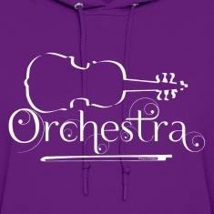 Orchestra White Violin Outline Hoodies