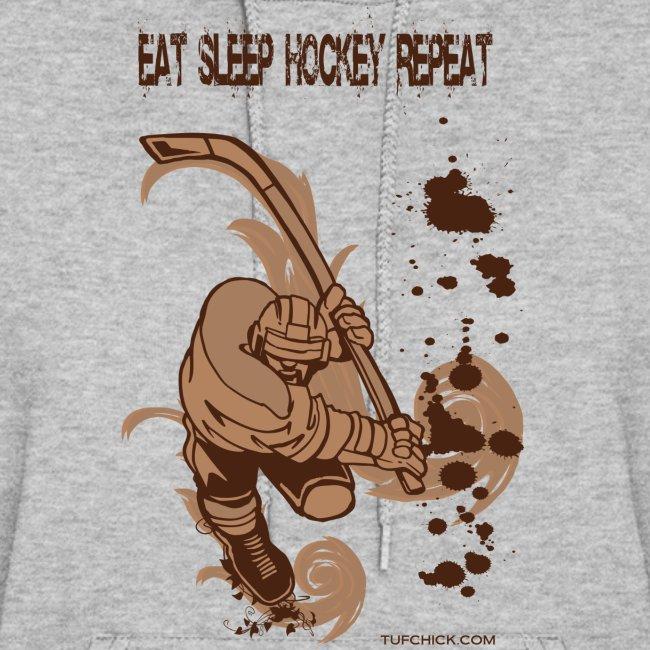 Eat Sleep Hockey Repeat Hoodie - Women's - Front Print