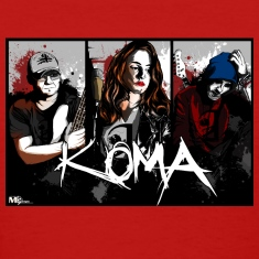 Koma rock band woman tshirt