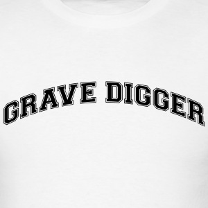 grave digger college style curved logo t-shirt - Men's T-Shirt