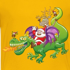 Santa Claus Changed his Reindeer for a Dragon Kids' Shirts