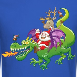 Santa Claus Changed his Reindeer for a Dragon Long Sleeve Shirts - Crewneck Sweatshirt