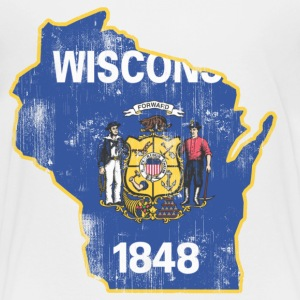 Wisconsin State Flag Outline Kids' Shirts - Kids' Premium T-Shirt