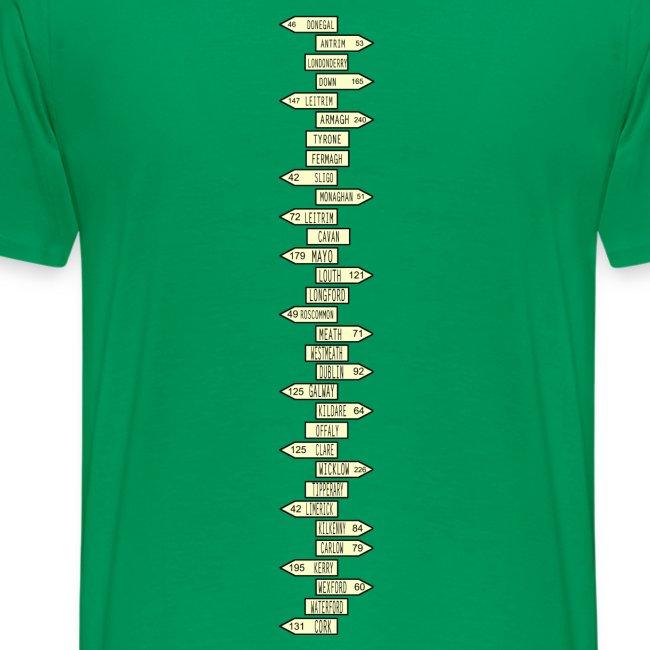 Map Of Ireland 32.Spinaltees 32 County Sign Map Of Ireland Mens Premium T Shirt