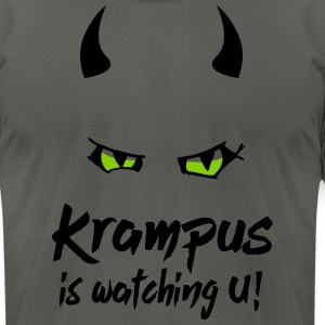 Krampus is watching U with evil eyes and horns T-Shirts - Men's T-Shirt by American Apparel