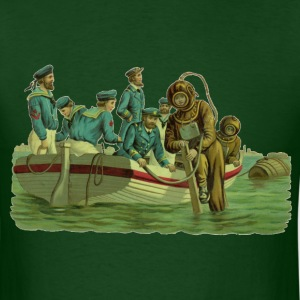 Vintage Military Deep Sea Divers with Boat - Men's T-Shirt