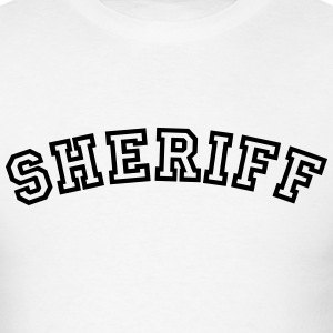 sheriff curved college style logo t-shirt - Men's T-Shirt
