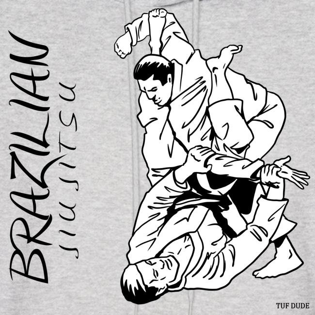Brazilian Jiu Jitsu Hoodie Men's - bw - Front Print