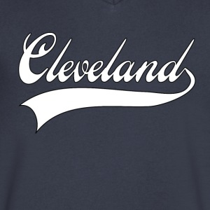 cleveland white T-Shirts - Men's V-Neck T-Shirt by Canvas