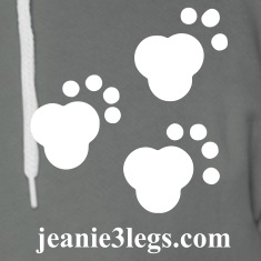 Jeanie3legs Paw Prints Zip Hoodies & Jackets