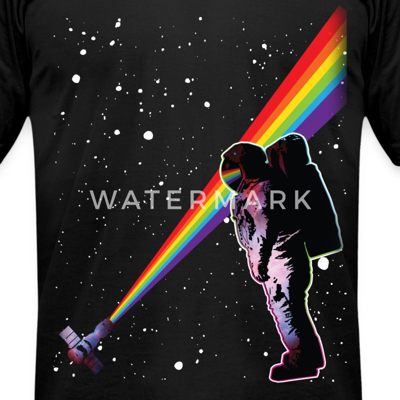 Astronaut Rainbow Space T-Shirts - Men's T-Shirt by American Apparel