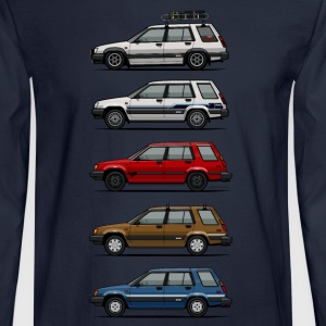 Stack of Toyota Tercel SR5 4WD Wagons Long Sleeve Shirts - Men's Long Sleeve T-Shirt