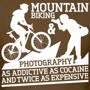 Mountain Biking And Photography Twice Addictive - Men's T-Shirt