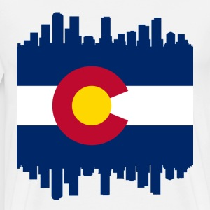 Colorful Colorado Skyline Flag T-Shirts - Men's Premium T-Shirt