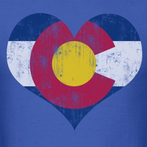 Vintage Fade Colorado Flag Heart T-Shirts - Men's T-Shirt