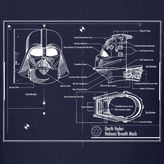 Darth Vader Star Wars Blueprint T Shirts