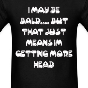 Bald man gets head basic black tshirt - Men's T-Shirt