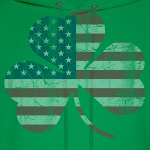 American Flag Irish Shamrock Vintage Fade Hoodies - Men's Hoodie