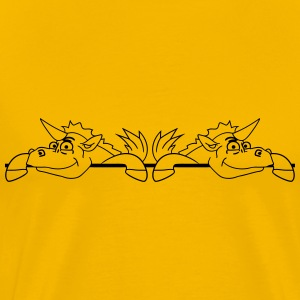 2 unicorns comic cartoon wall building wall barrie T-Shirts - Men's Premium T-Shirt