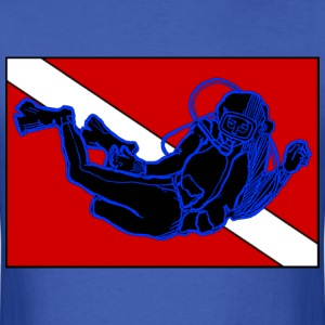 SCUBA Diver with Diving Down Flag - Men's T-Shirt