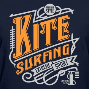 Kitesurfing Retro White Yellow Art - Women's T-Shirt