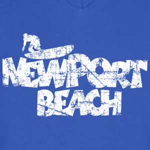 Newport Beach Surfing Vintage White T-Shirts - Men's V-Neck T-Shirt by Canvas