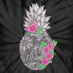 Pineapple zentangle with Flower T-Shirts - Unisex Tie Dye T-Shirt