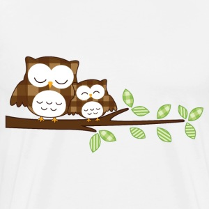 owl with baby owl on a branch - Men's Premium T-Shirt