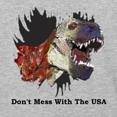 "T-rex Mascot ""Don't Mess with the USA"""