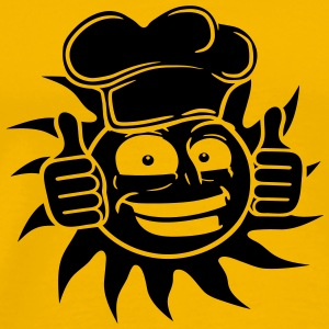cook food grin black star sun cook chef chef's hat T-Shirts - Men's Premium T-Shirt